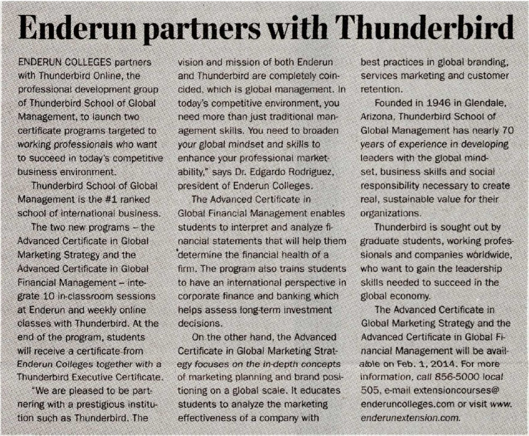 Enderun partners with Thunderbird