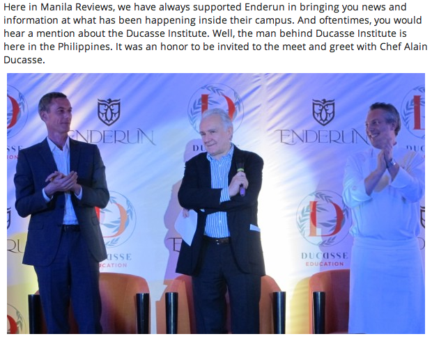 Chef Alain Ducasse in the Philippines and the Launch of the Chef De Partie Program