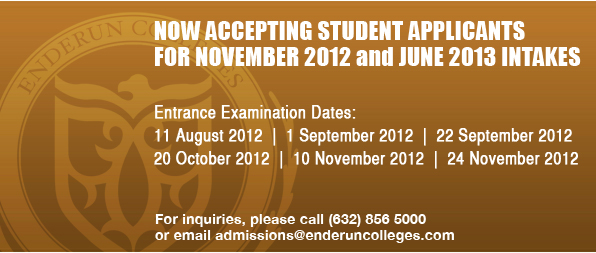 Now accepting student applicants for November 2012 and June 2013 intakes